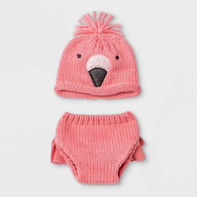 Baby Girls' Flamingo Hat and Diaper Cover Set - Cloud Island™ Pink One Size