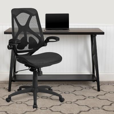 Flash Furniture High Back Transparent Black Mesh Executive Ergonomic Office Chair with Adjustable Lumbar, 2-Paddle Control & Flip-Up Arms