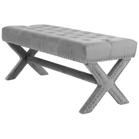 Kennedy Grey Velvet Tufted Bench - Silver Nailhead Legs - Modern in Gray - Posh Living - image 1 of 3