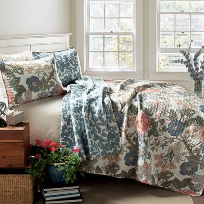 Sydney 3 Piece Quilt Set Green/Blue - Lush Décor