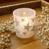 """2ct LED Wax Candles Filled in Glass Holders With 2 Timers """"Gold Stars"""" Candle - LumaBase - image 2 of 3"""