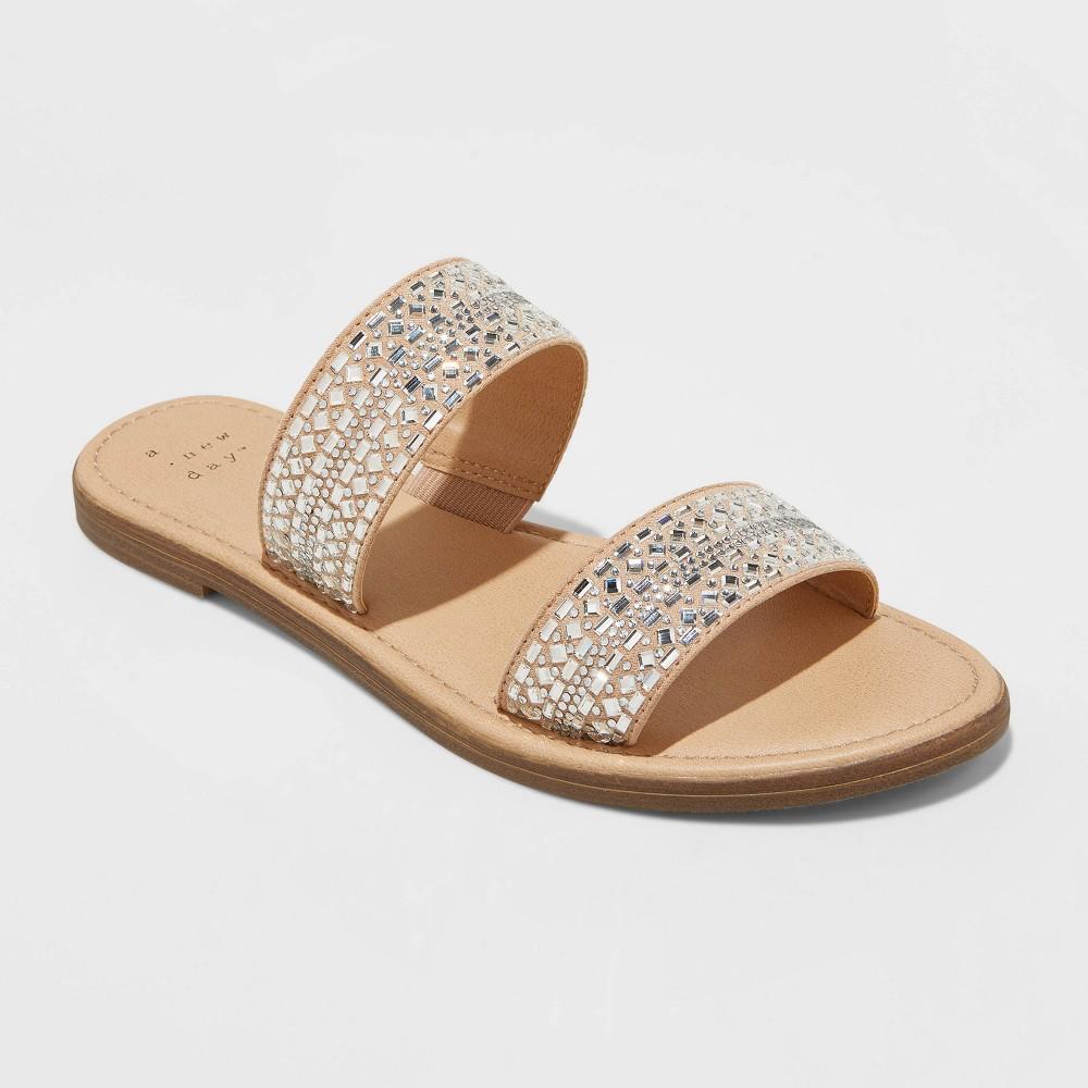 Women 39 S Kersha Embellished Slide Sandals A New Day 8482 Taupe 7 5