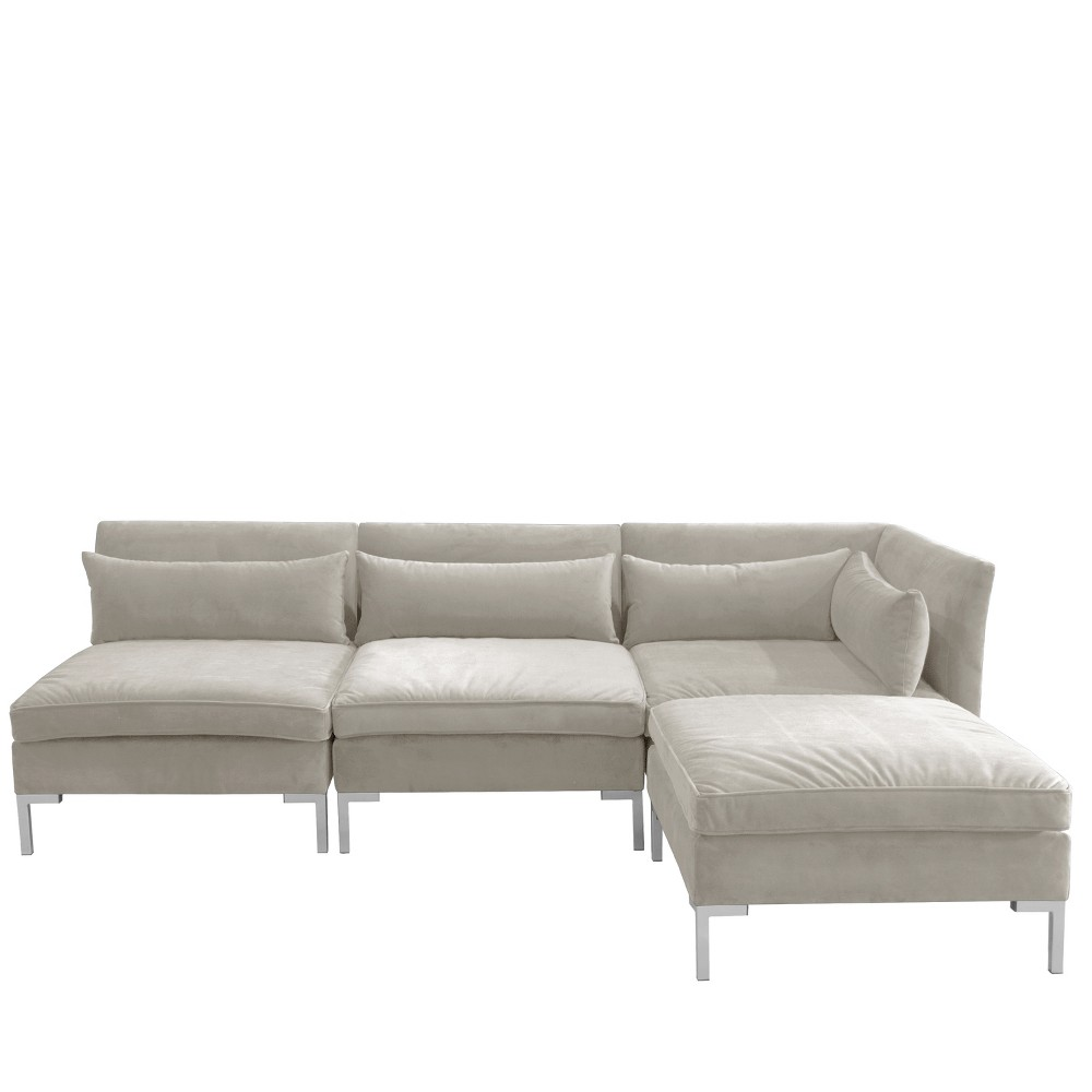 Image of 4pc Alexis Sectional with Silver Metal Y Legs Light Gray Velvet - Cloth & Company