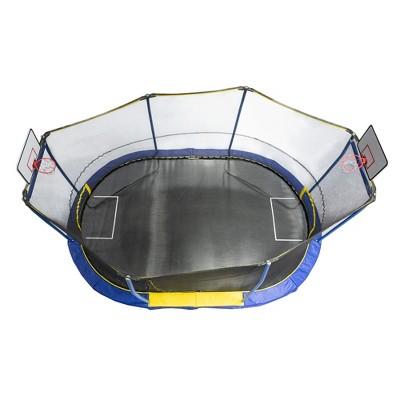 JumpKing JK1015OVBHSG 10 x 15 Foot Trampoline with Safety Net Enclosure, 2 Basketball Hoops, 1 Ball, and 1 Soccer Net