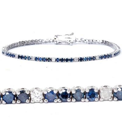 Pompeii3 2ct Treated Blue & White Diamond Tennis Bracelet 14K White Gold