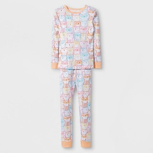 Girls' 2pc Tight Fit Long Sleeve Bright Owls Graphic Pajama Set - Cat & Jack™ White/Orange - image 1 of 1