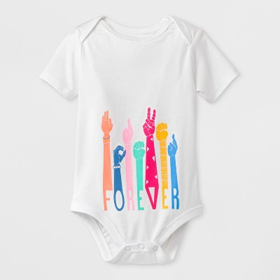 Baby Girls' Short Sleeve Sign Language Forever Jumpsuit - Cat & Jack™ White Newborn