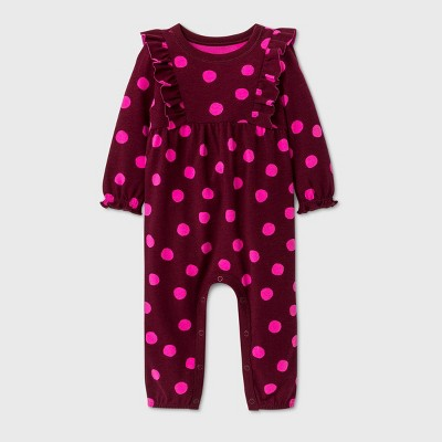 Baby Girls' Ruffle Long Sleeve Romper - Cat & Jack™ Burgundy 3-6M