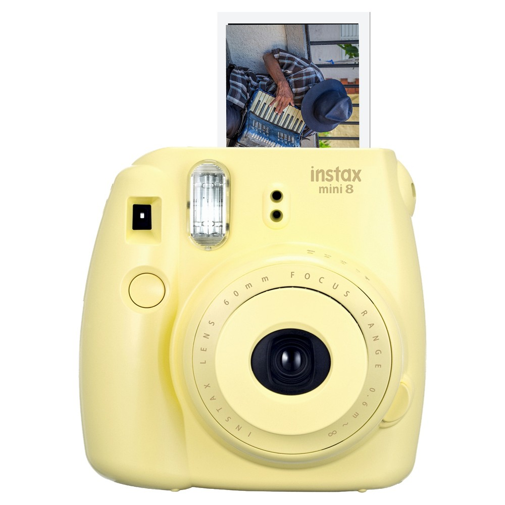 Fujifilm Instax Mini 8 Instant Film Camera - Yellow (16273441) Take snapshots that you'll want to keep forever with the Fujifilm Instax Mini 8 Instant Film Camera - Yellow (16273441). The Fujifilm camera features a lens, flash and batteries to help capture your fun and clever photos. Fujifilm instant film sold separately.