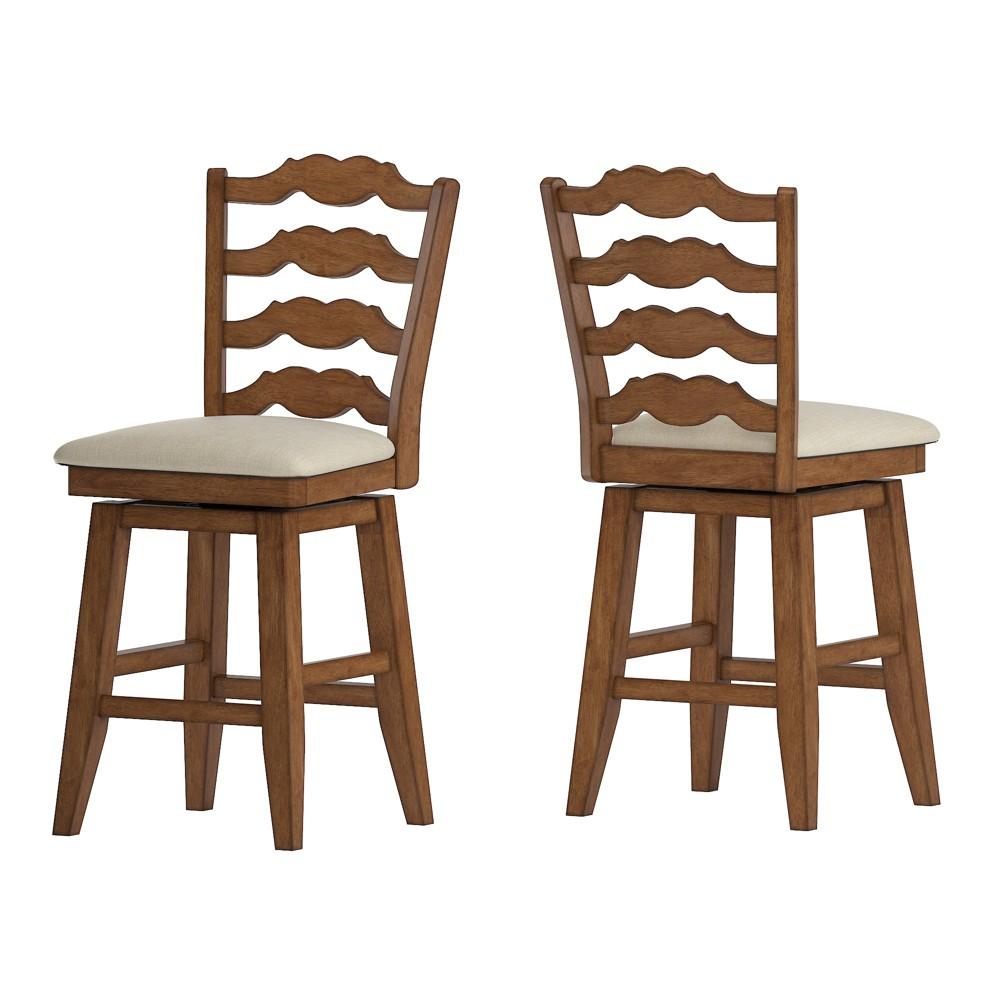 """Image of """"24"""""""" South Hill French Ladder Back Swivel Counter Height Chair Oak Brown - Inspire Q"""""""