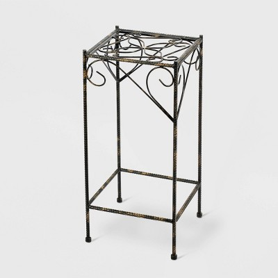 Large Square Iron Plant Stand With Ridged Detail Black/Gold - Ore International