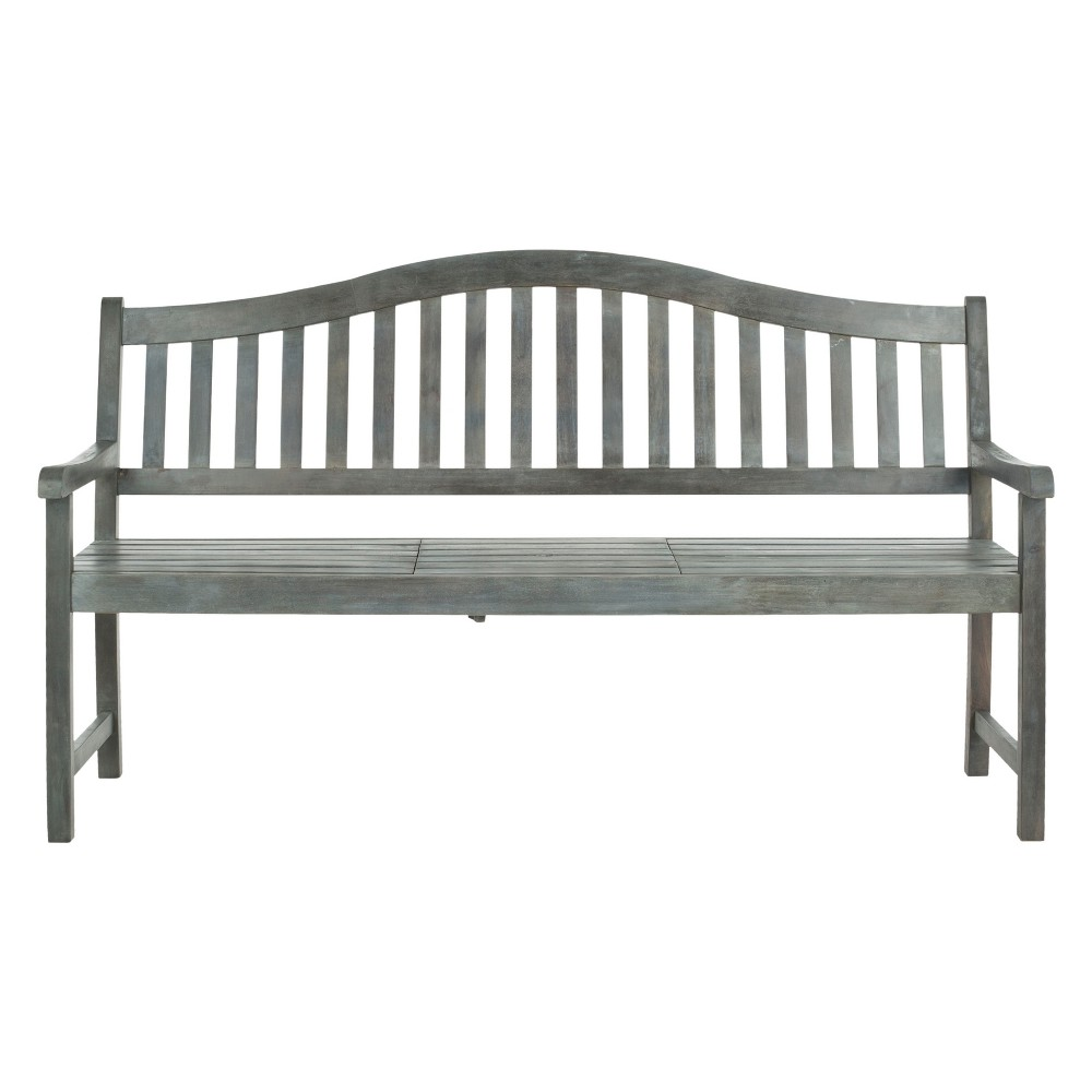 Cannes Wood 4-Seater Patio Bench with Pop-Up Table - Gray - Safavieh, Ash Gray
