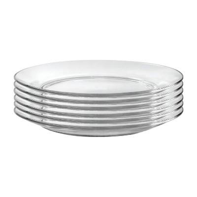 Duralex Lys 6 Piece 11 Inch Round Circle Clear Tempered Pure Glass Dinner Plate Dinnerware Set for Salad, Pasta, Dessert