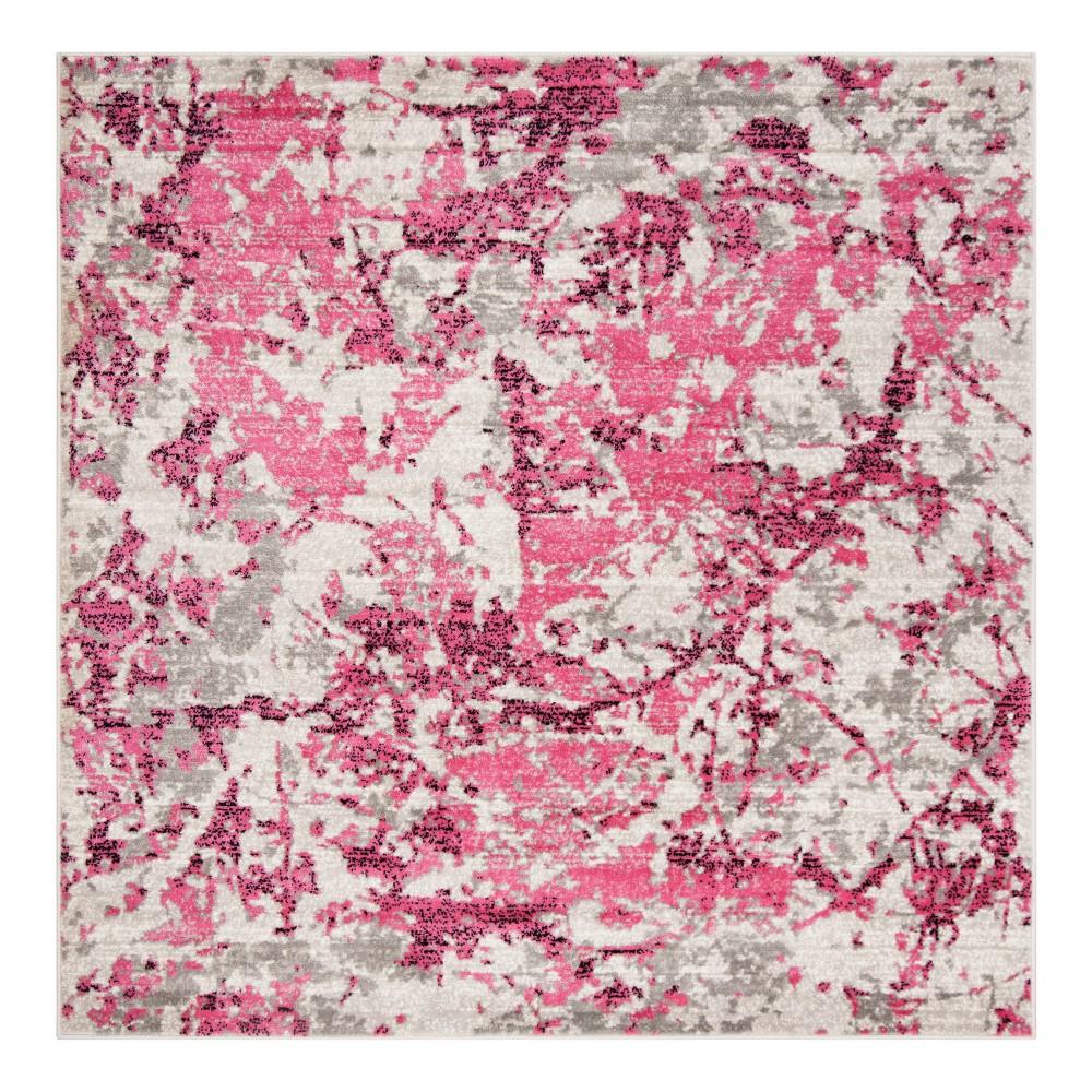 Pink/Ivory Fleck Loomed Square Area Rug 6'7
