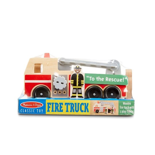 Melissa & Doug Wooden Fire Truck With 3 Firefighter Play Figures image number null