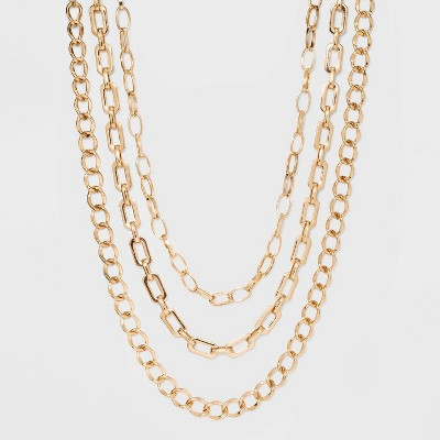 Three Piece Metal Chain Link Necklace - A New Day™ Gold