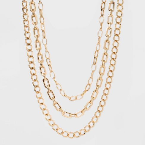 Three Piece Metal Chain Link Necklace - A New Day™ Gold - image 1 of 2