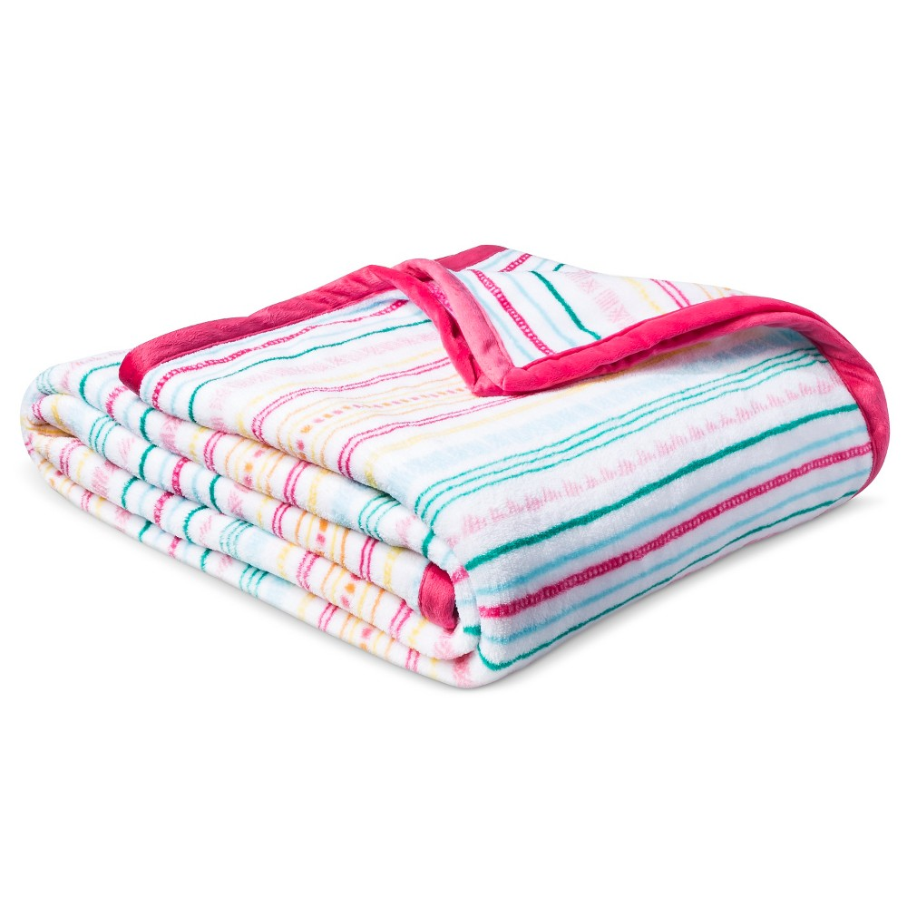 Fiesta Plush Blanket (Full/Queen) White & Pink - Pillowfort