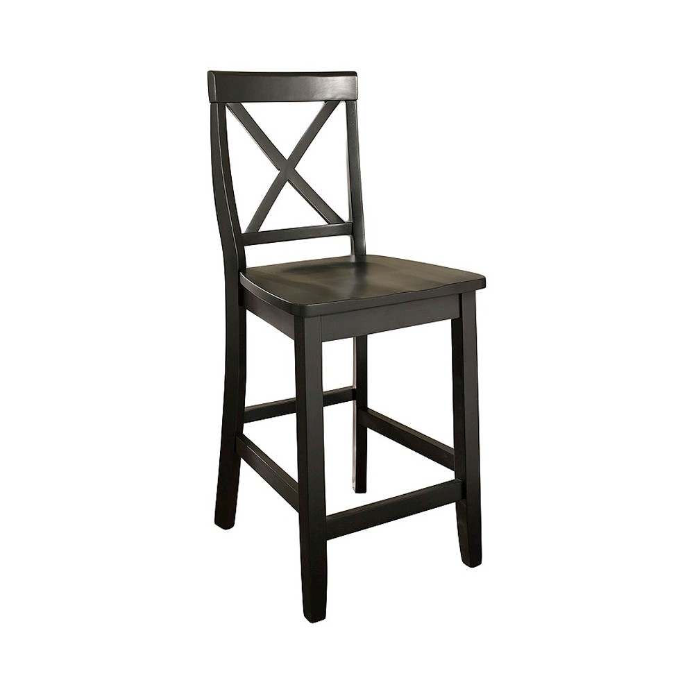 "Image of ""24"""" X-Back Counter Stool Black (Set of Two) - Crosley"""