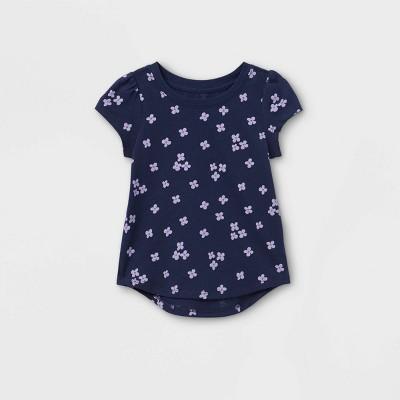 Toddler Girls' Floral Short Sleeve T-Shirt - Cat & Jack™ Navy