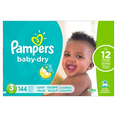 Pampers Baby Dry Diapers, Giant Pack - Size 3 (144 ct)