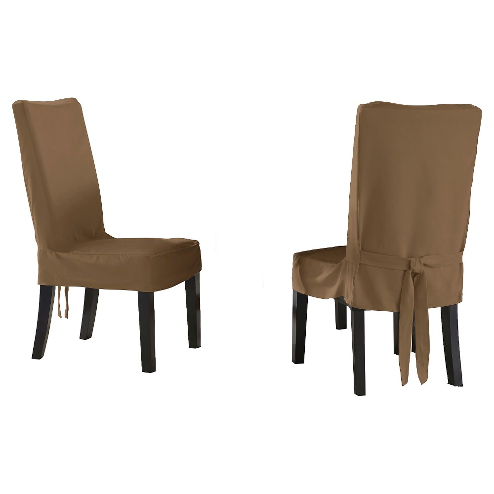 Image of 2pk Taupe Brown Relaxed Fit Smooth Suede Furniture Dining Chair Slipcover - Serta, Brown Brown Short