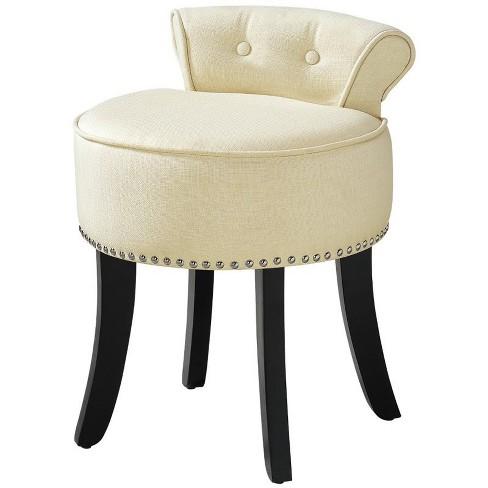 Alena Cream White Linen Vanity Stool - Nailhead Trim - Button Tufted in White - Posh Living - image 1 of 3