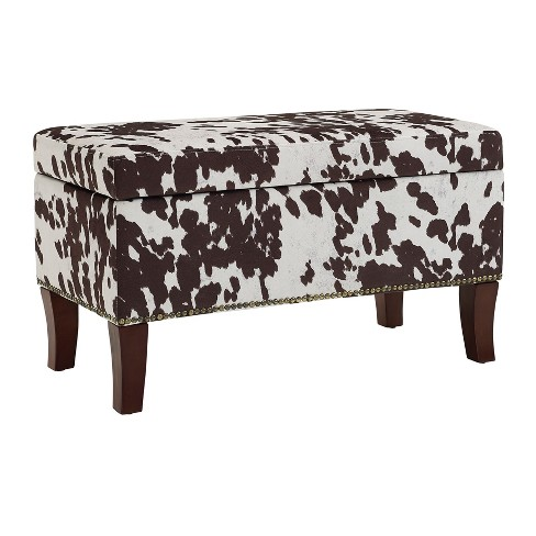 Stephanie Upholstered Milk Bench - Brown/White - Linon - image 1 of 1