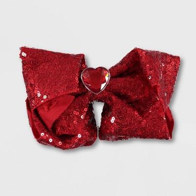 Girls' JoJo Siwa Sequin V-Day Bow Hair Clip - Red