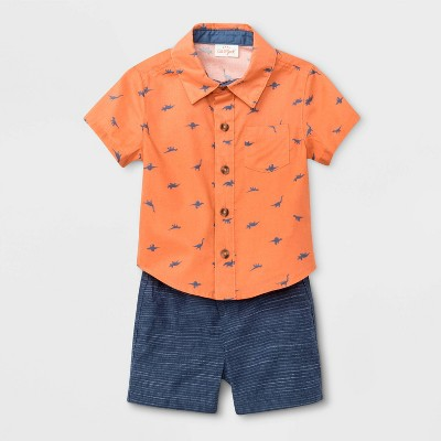 Baby Boys' Dino Woven Top & Bottom Set - Cat & Jack™ Orange/Blue 0-3M