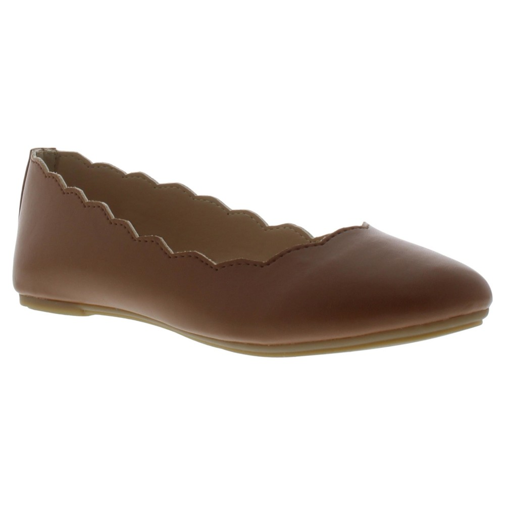 Girls' Sam & Libby Candice Ballet Flat With Scalloped Edge - Tan 1