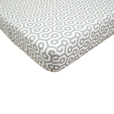 TL Care Gray Honeycomb Fitted Crib Sheet