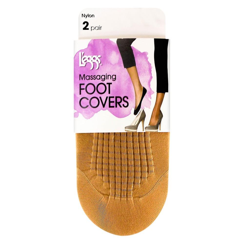 L'eggs Women's Massaging Foot Covers - 3925 - 2pk Natural 5-9