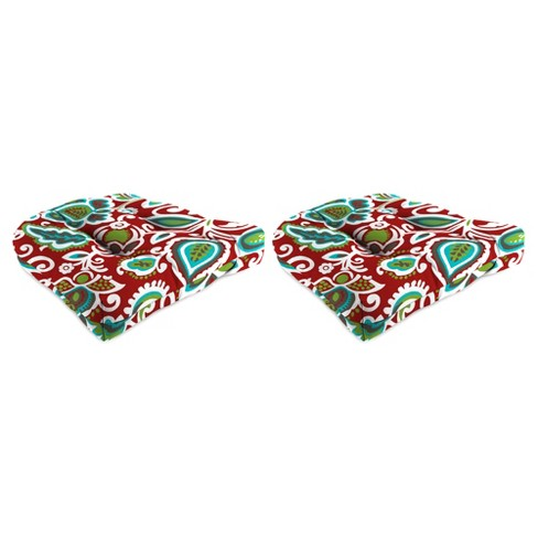 Outdoor Set Of 2 Wicker Chair Cushions In Faxon Rojo  - Jordan Manufacturing - image 1 of 2