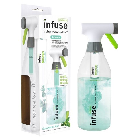 Casabella Infuse Bathroom Cleaner - 1 Refillable Spray Bottle 1 Cleaning Spray Concentrate - Eucalyptus Mint - image 1 of 4