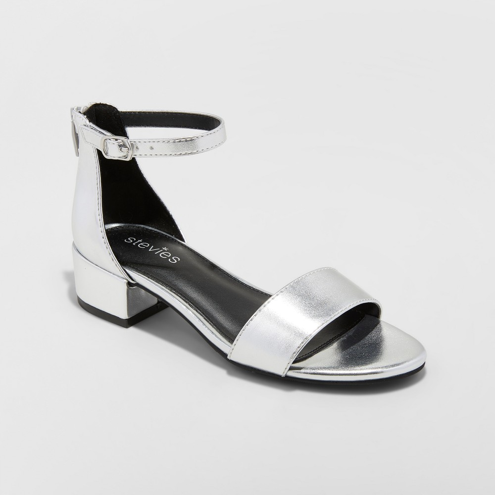 Image of Girls' Dressy Heeled Current mood Sandals - Stevies - Silver 13, Girl's