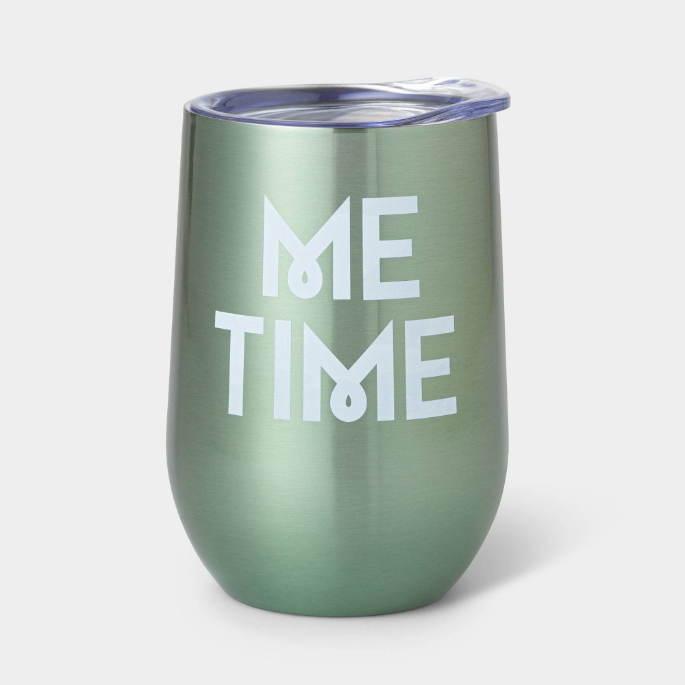 Image of 11oz Double Wall Stainless Steel Vacuum Wine Tumbler with Lid This is my Me Time Mint - Room Essentials
