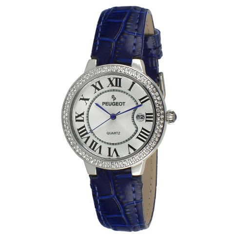 Women's Peugeot® Round Crystal Bezel Leather Strap Watch - Silver and Blue - image 1 of 2