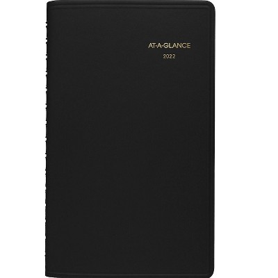 """AT-A-GLANCE 2022 5"""" x 8"""" Appointment Book Black 70-075-05-22"""