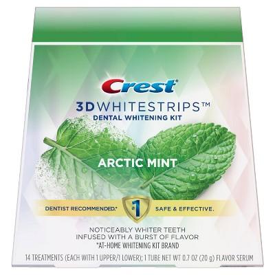 Crest 3D Whitestrips Arctic Mint Dental Whitening Kit - 28 Whitestrips (14 Treatments) + 1 Tube of Flavor Serum