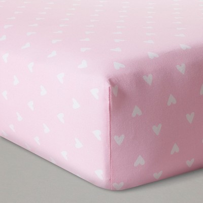 Fitted Crib Sheet Hearts - Cloud Island™ - Pink