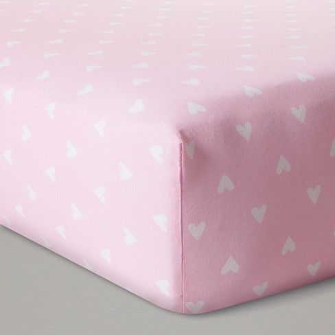 Fitted Crib Sheet Hearts - Cloud Island™  Pink - image 1 of 2