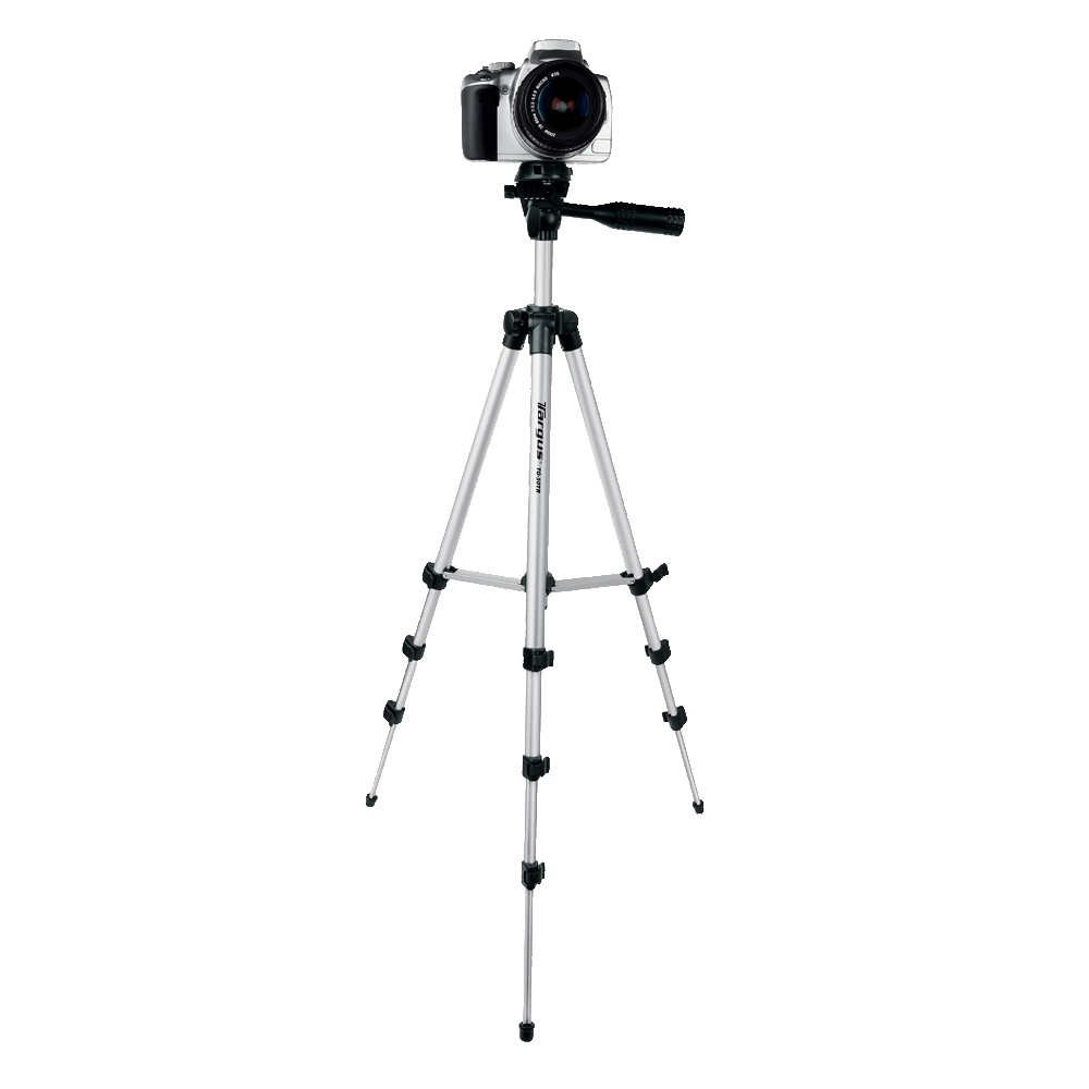 Targus Extendable Tripod - 50 (TG-5060TR), Black/Silver Keep your camera steady with this extendable tripod from Targus. This sturdy tripod is made of metal, so you can always take steady pictures. It also comes with an action mount and supports most cameras and camcorders. Color: Black/ Silver.