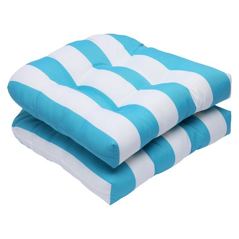 Pillow Perfect Cabana Stripe 2-Piece Outdoor Wicker Seat Cushion Set - Blue - image 1 of 3