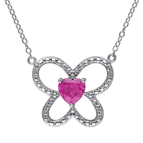 1 CT. T.W. Simulated Ruby Butterfly Pendant Necklace in Sterling Silver - Red - image 1 of 1