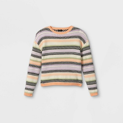 Girls' Striped Crew Neck Sweater - art class™