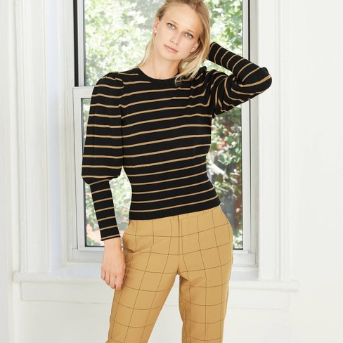 Women's Striped Crewneck Pullover Sweater - Who What Wear™  - image 1 of 3