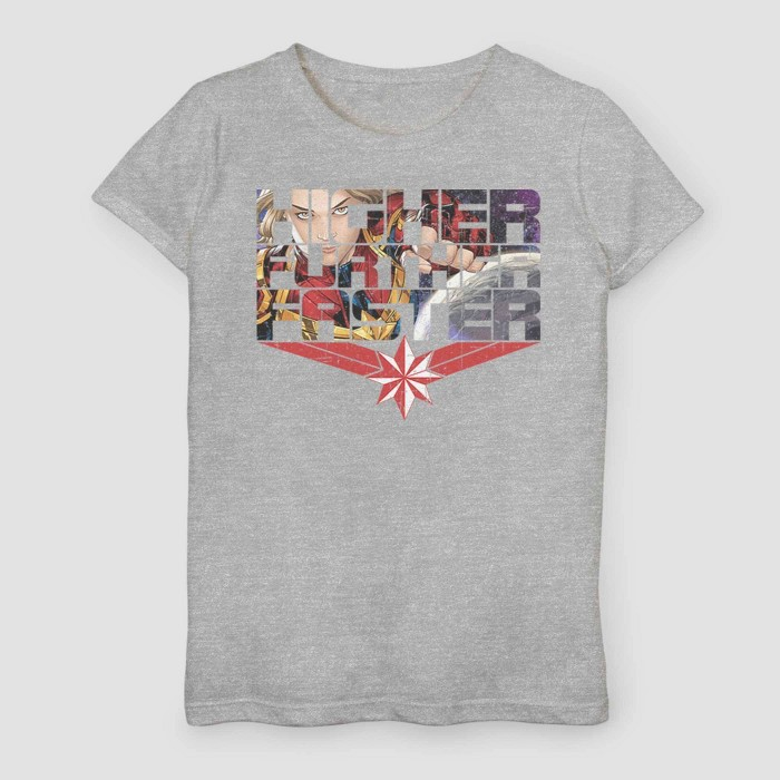 Girls' Captain Marvel Inside Comics Short Sleeve T-Shirt - Heather Gray  - image 1 of 1