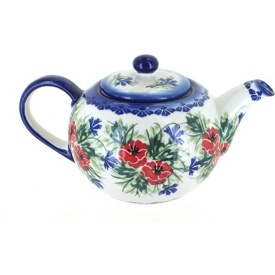 Blue Rose Polish Pottery Cherry Red Bouquet Large Teapot