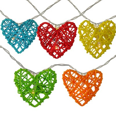 Northlight 10ct Battery Operated Valentine's Day Heart LED String Lights Warm White - 4.5' Clear Wire